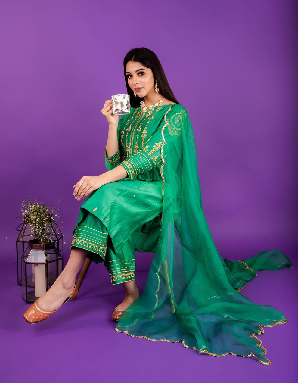 Green hand embroidered chanderi silk kurta with silk pallazzo and organza dupatta- Set of 3