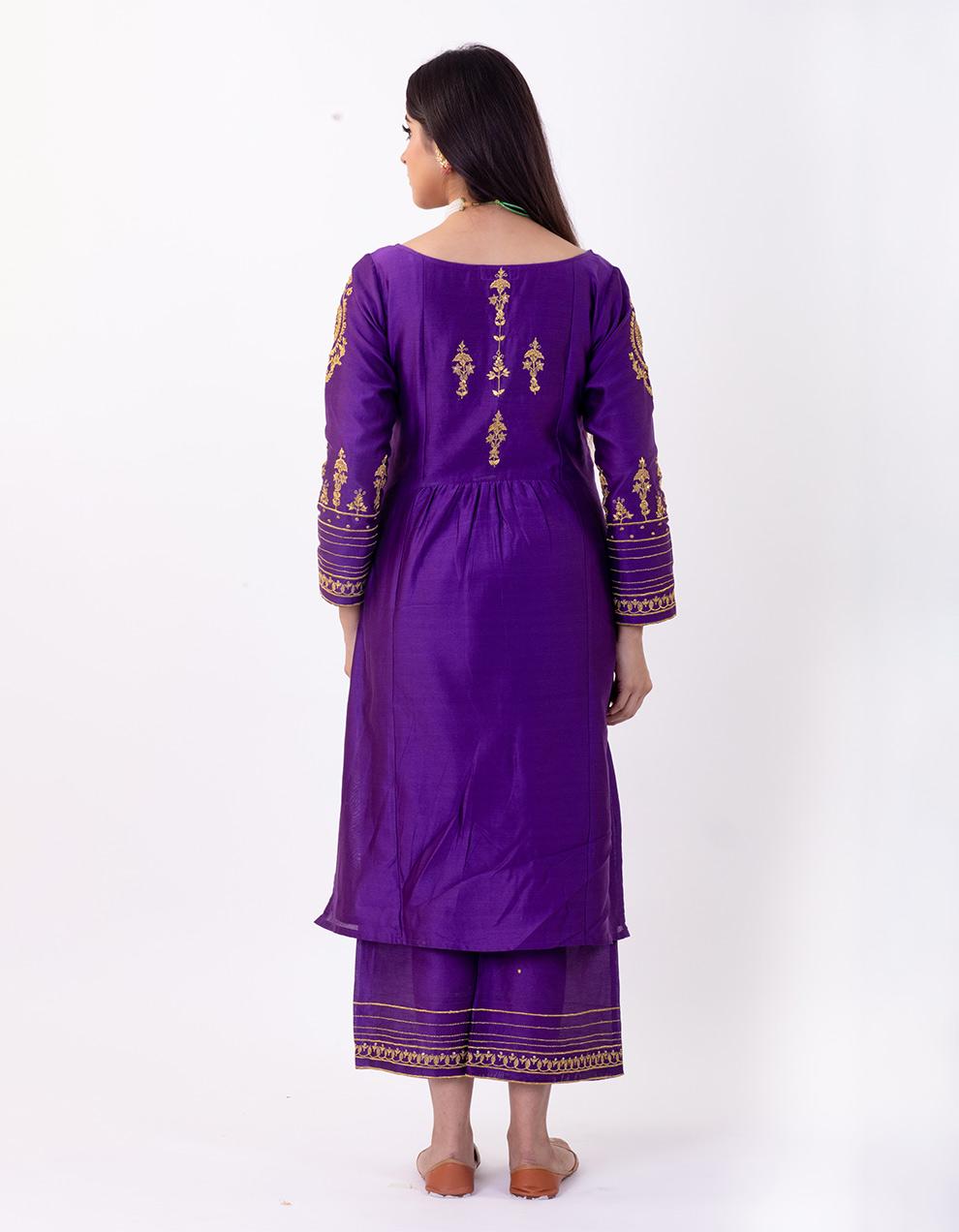 Purple hand embroidered chanderi silk kurta