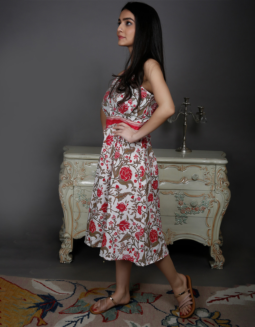 White and Red cotton Dress