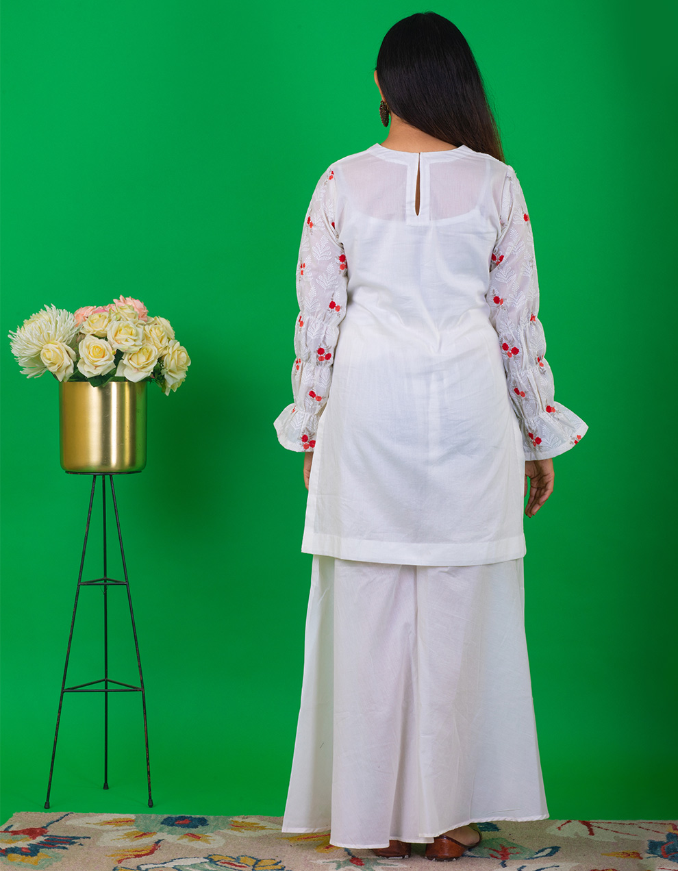 Floral Printed White Short Kurta