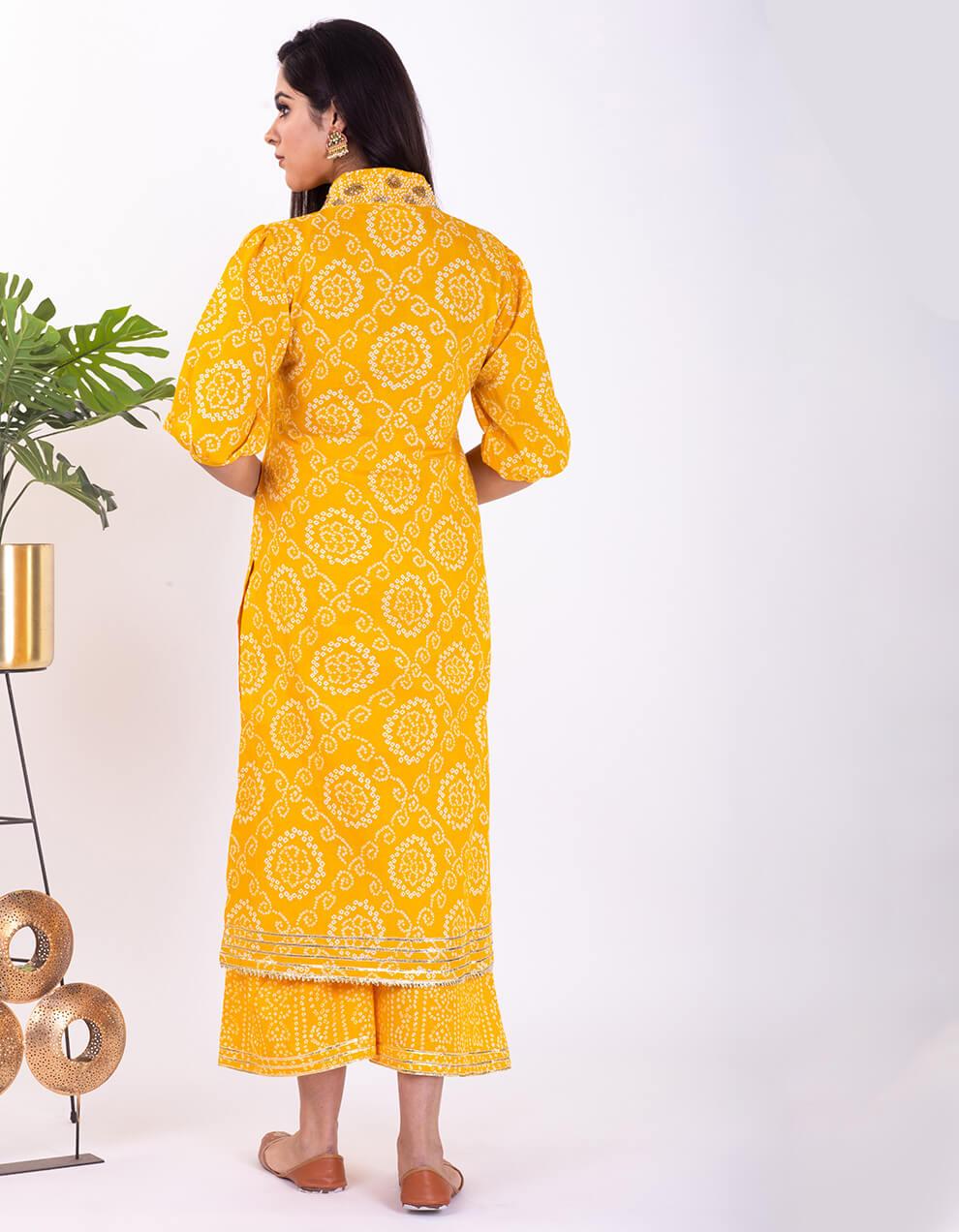 Yellow hand embroidered bandhani cotton kurta with pallazzo- Set of 2