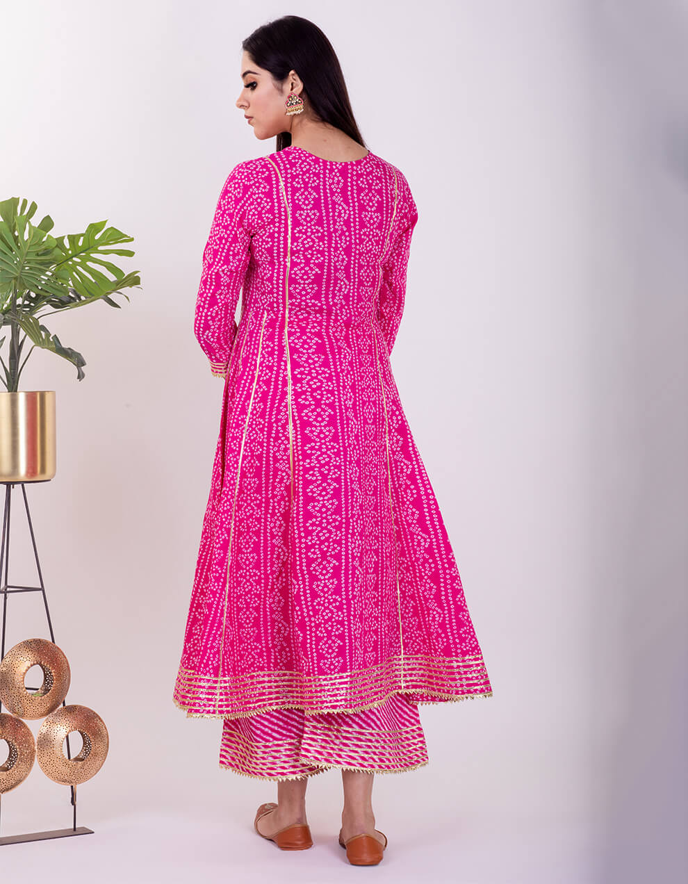 Pink hand embroidered bandhani cotton anarkali with pallazzo- Set of 2