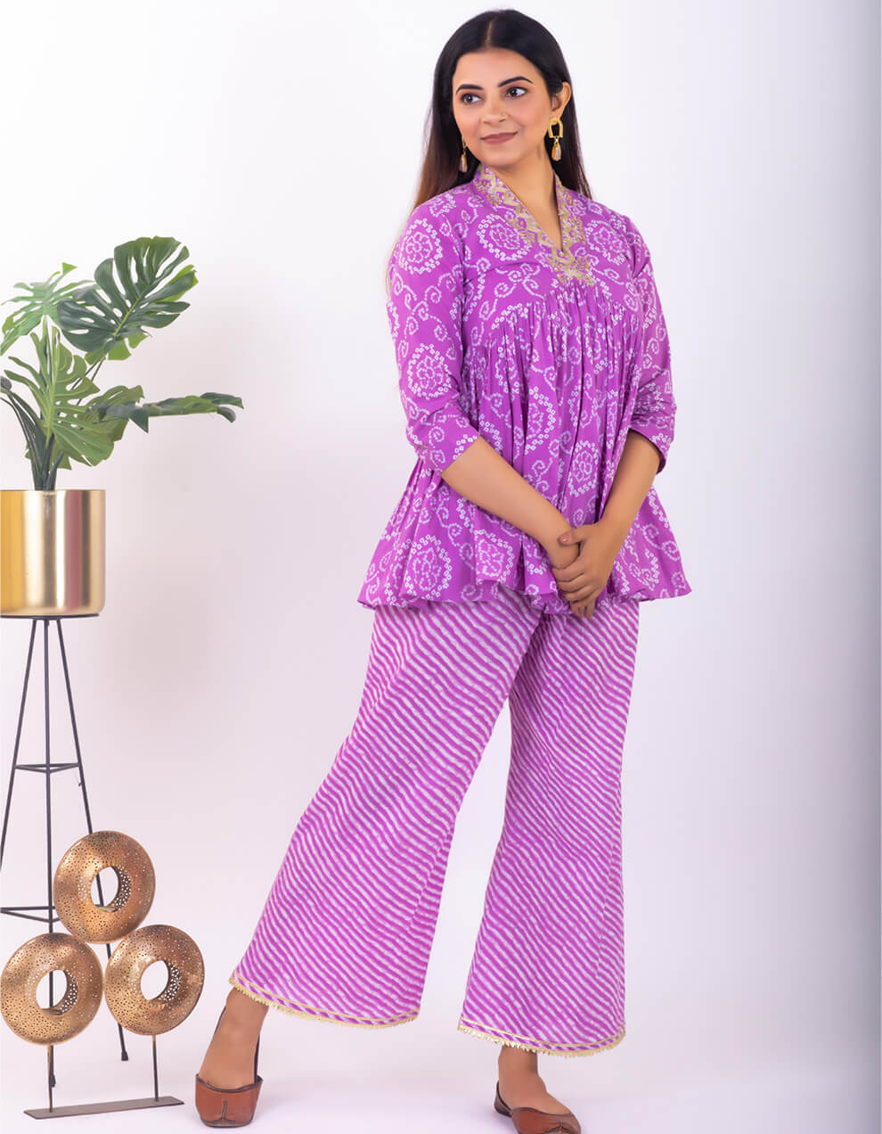Purple hand embroidered bandhani cotton peplum top