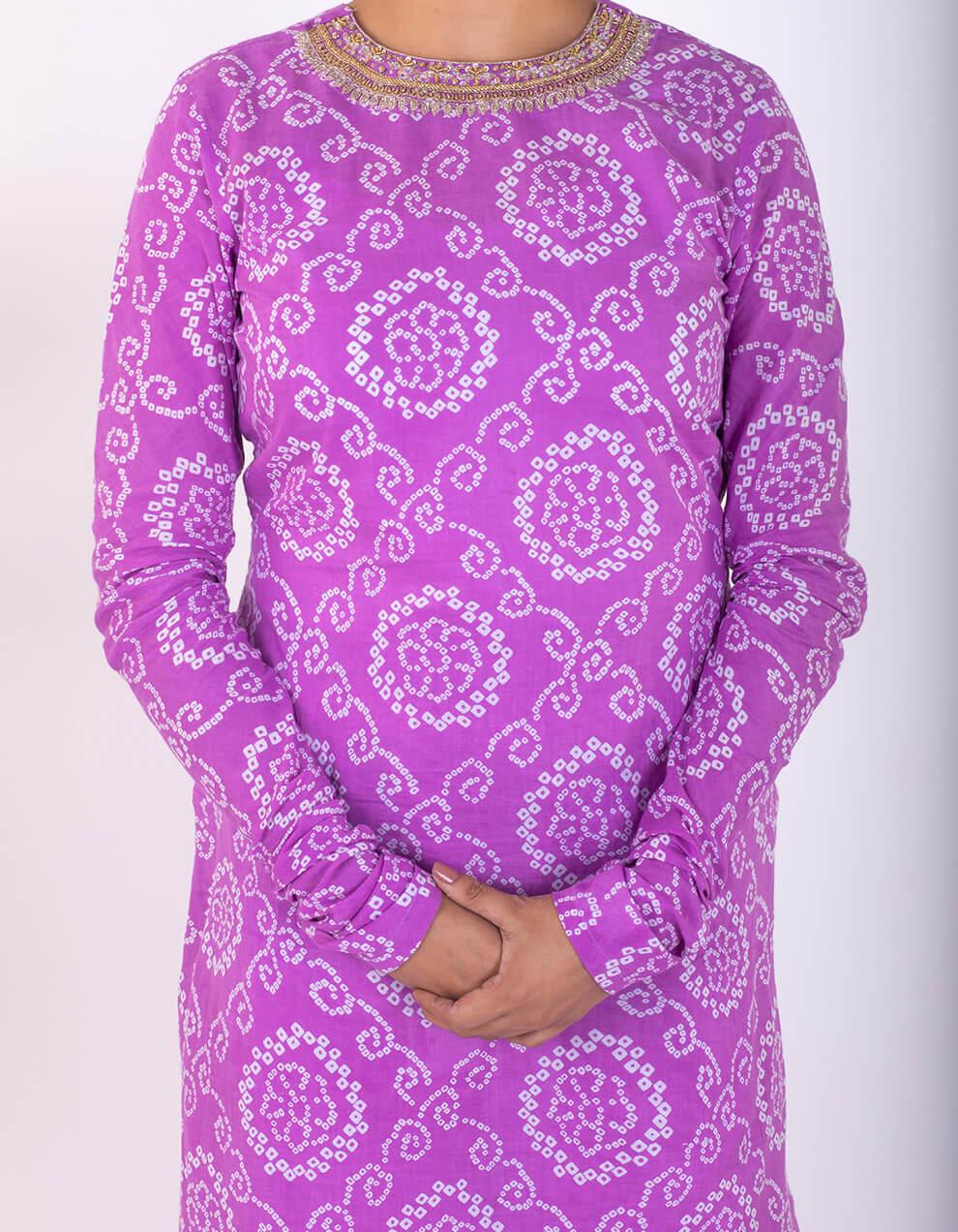 Purple hand embroidered bandhani cotton kurta with pallazzo- Set of 2