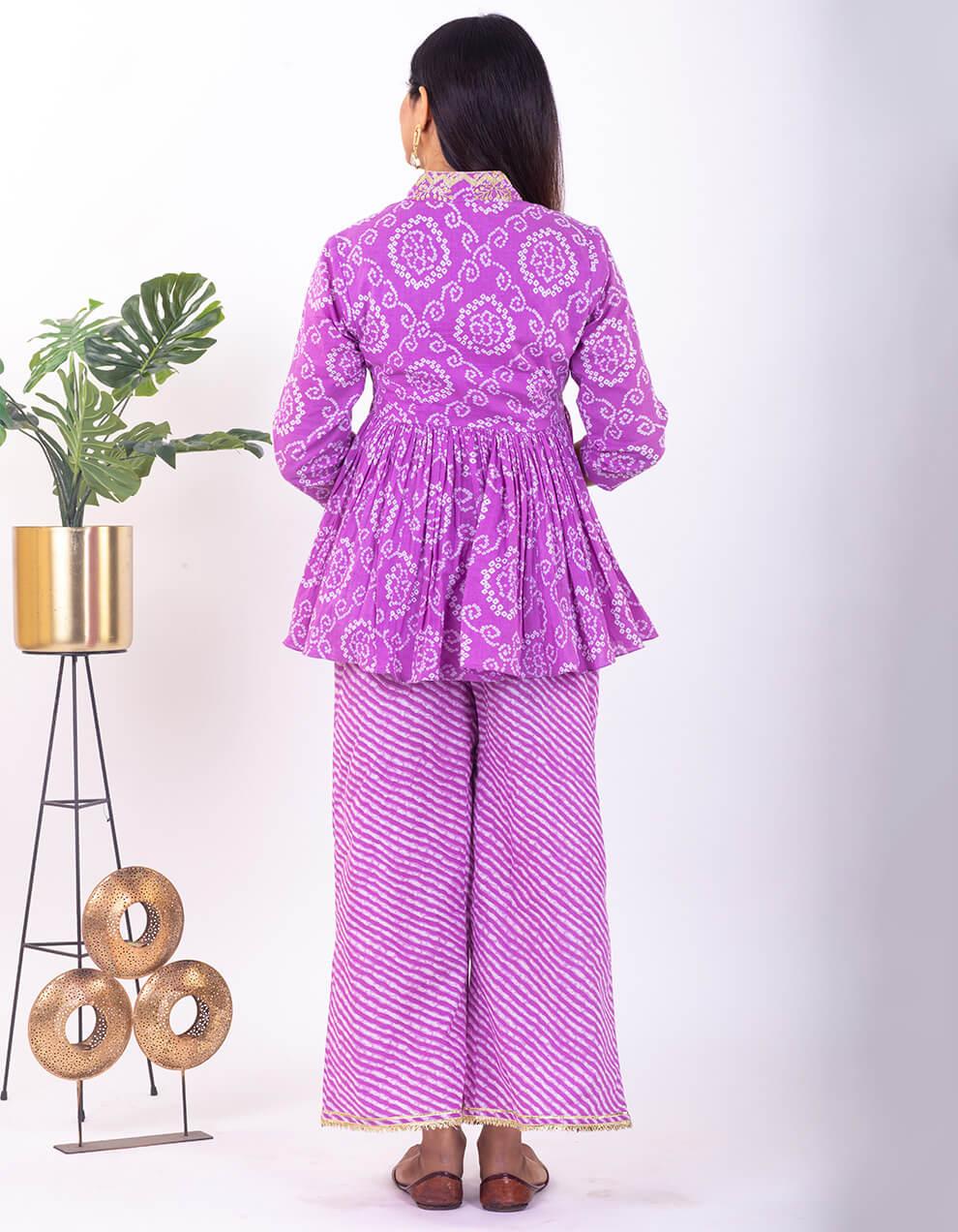 Purple hand embroidered bandhani cotton peplum top with pants - set of 2