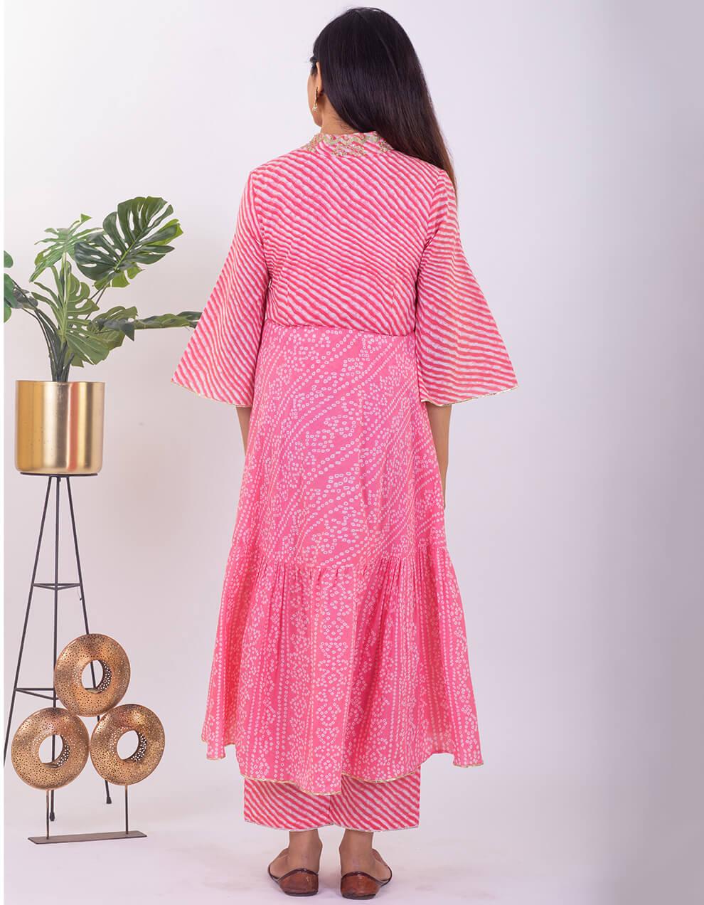Light Pink hand embroidered tiered bandhani cotton kurta with pallazzo and dupatta - Set of 3