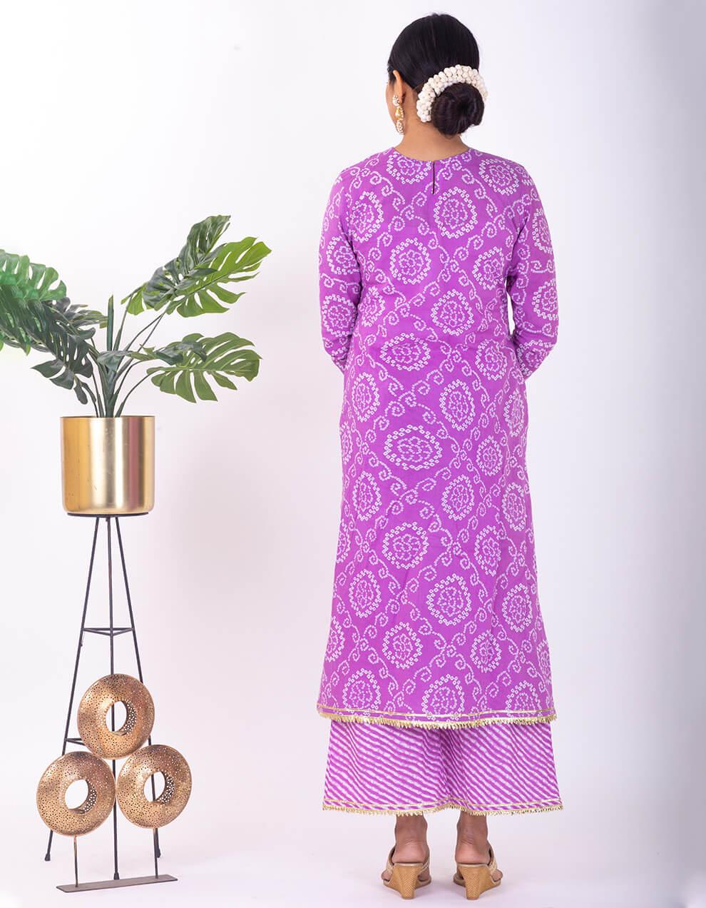 Purple hand embroidered bandhani cotton Kurta
