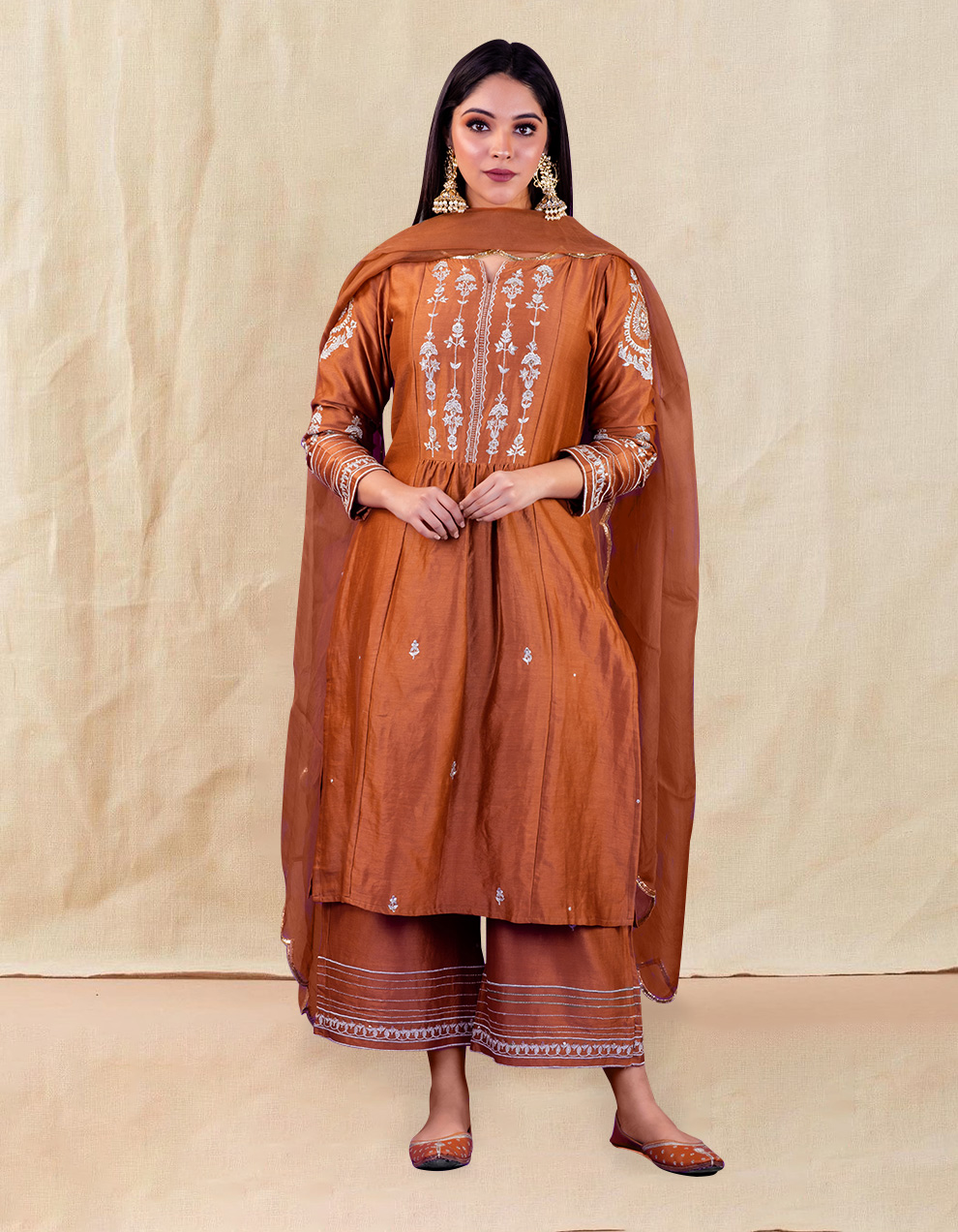 Brown hand embroidered chanderi silk kurta with silk palazzo - Set of 2