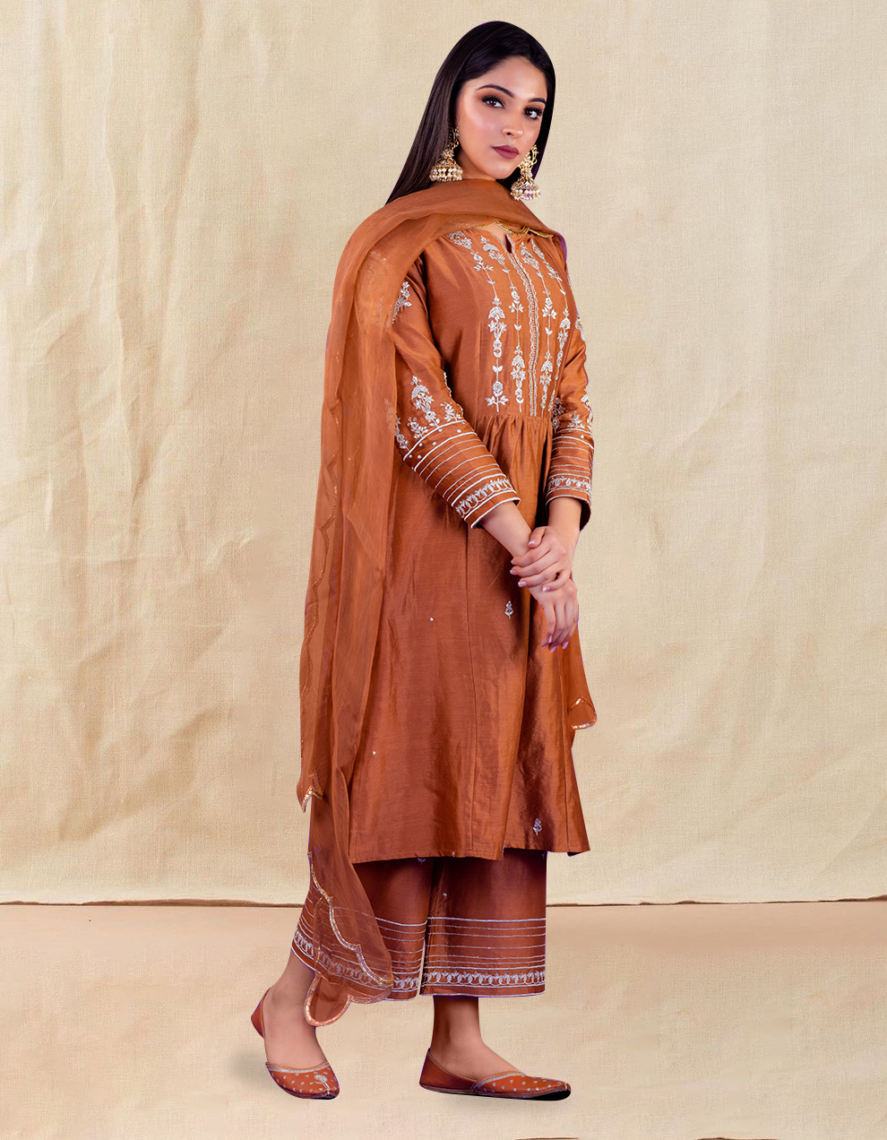 Brown hand embroidered chanderi silk kurta with silk palazzo and organza dupatta- Set of 3