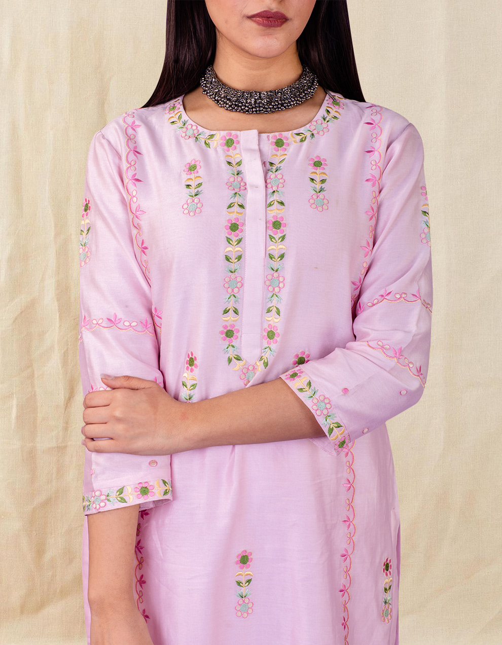 Pink embroidered chanderi silk kurta with silk palazzo - Set of 2