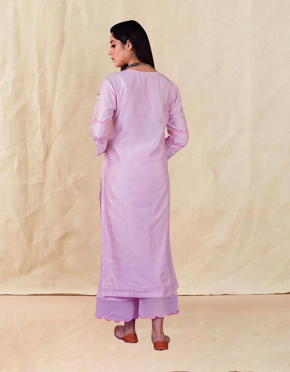 Pink embroidered chanderi silk kurta with silk palazzo and organza dupatta- Set of 3