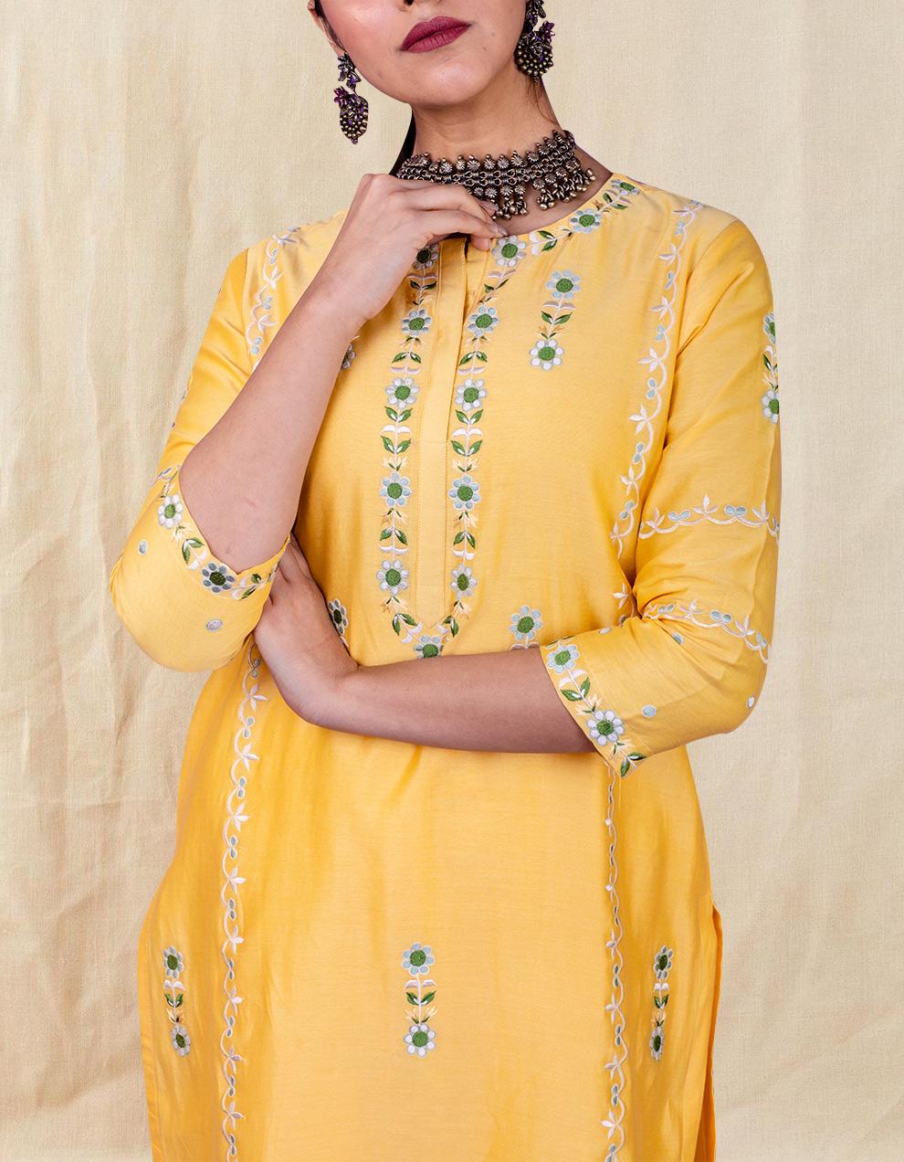 Yellow embroidered chanderi silk kurta with silk palazzo - Set of 2