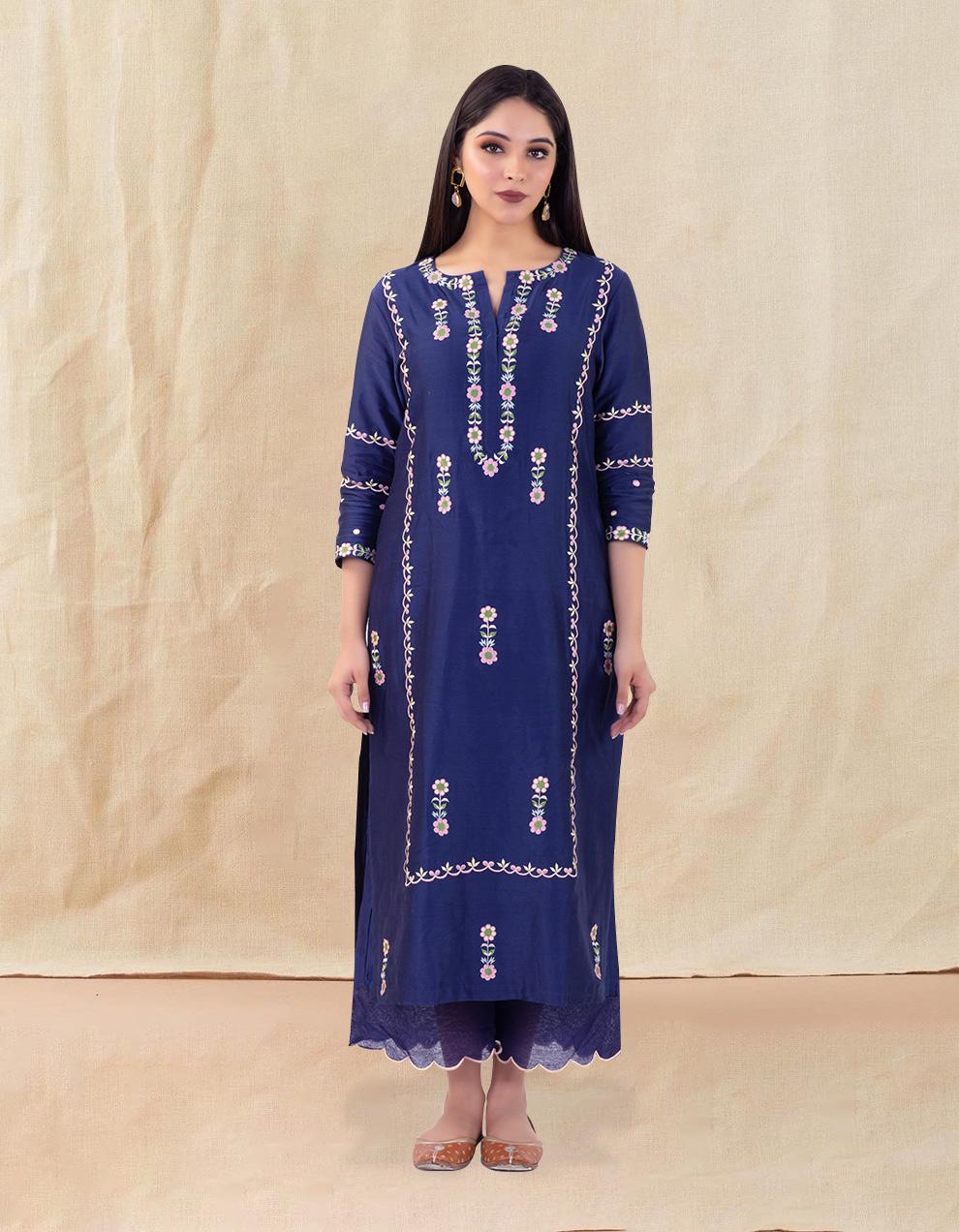 Buy the best  hand embroidered chanderi silk designs
