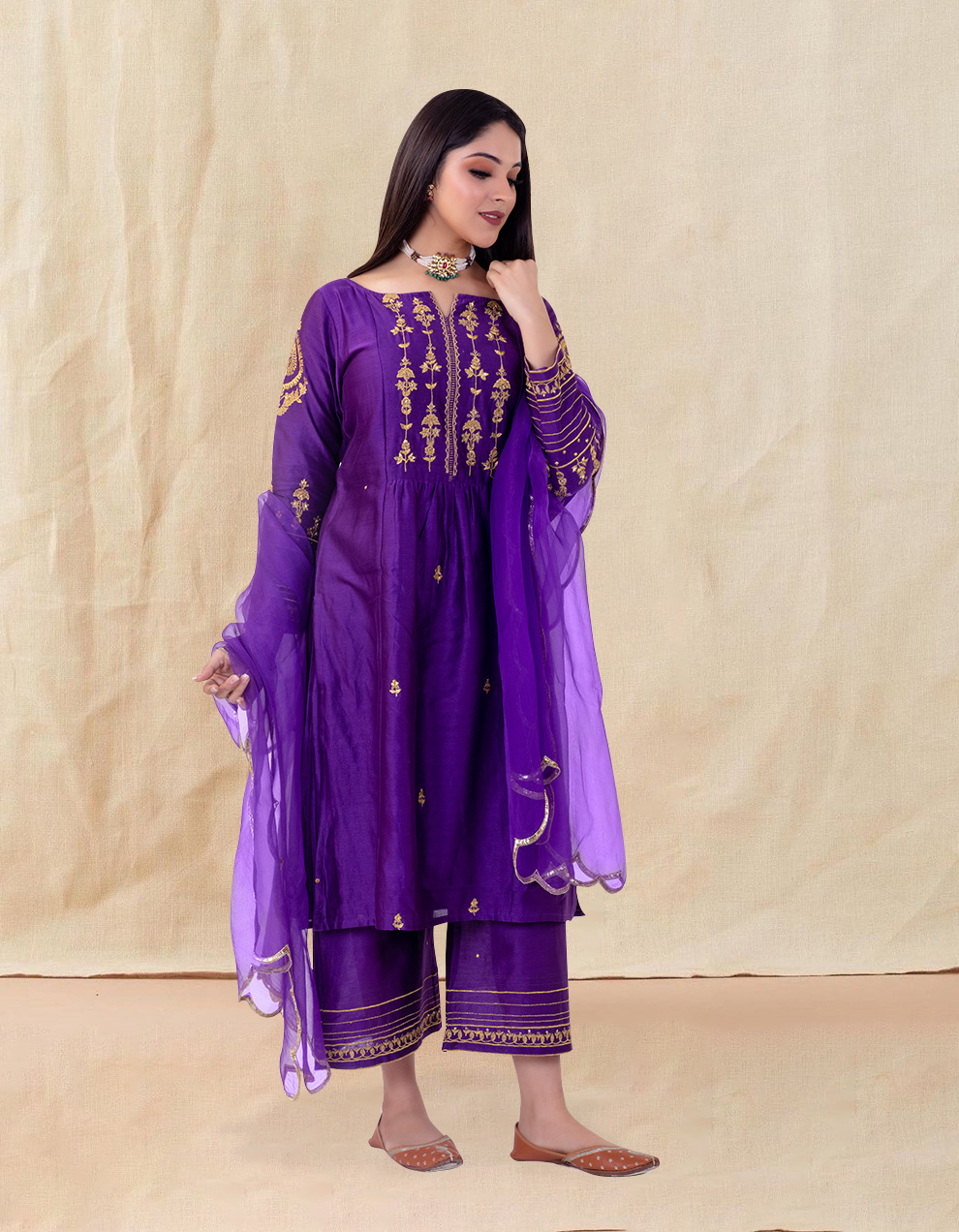 Purple embroidered chanderi silk Pants