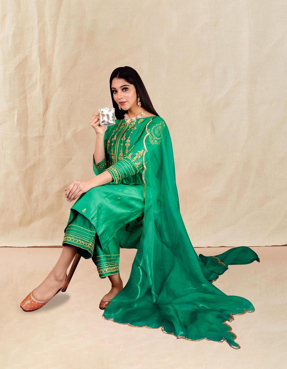 Green hand embroidered chanderi silk kurta with silk palazzo and organza dupatta- Set of 3