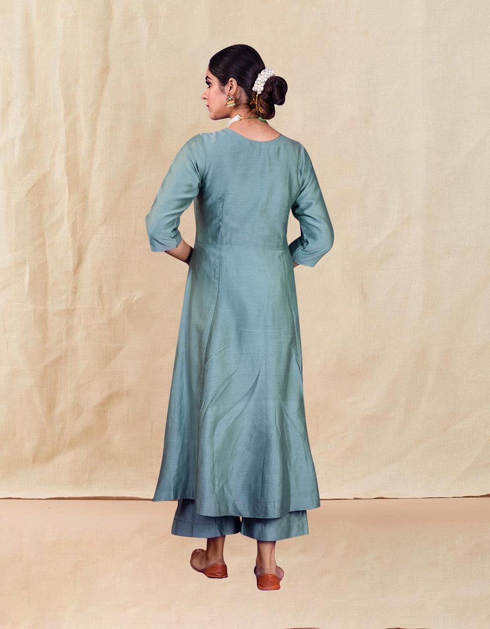 Sea Green hand embroidered chanderi silk kurta with silk palazzo and organza dupatta- Set of 3