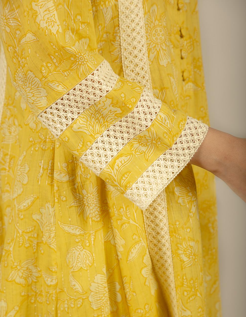 Yellow printed cotton printed kurta