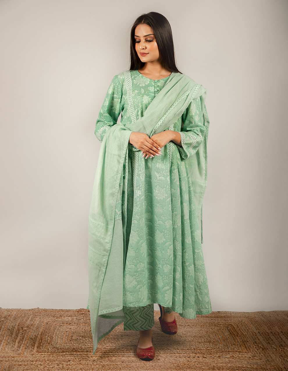 Green Dupatta with Lace