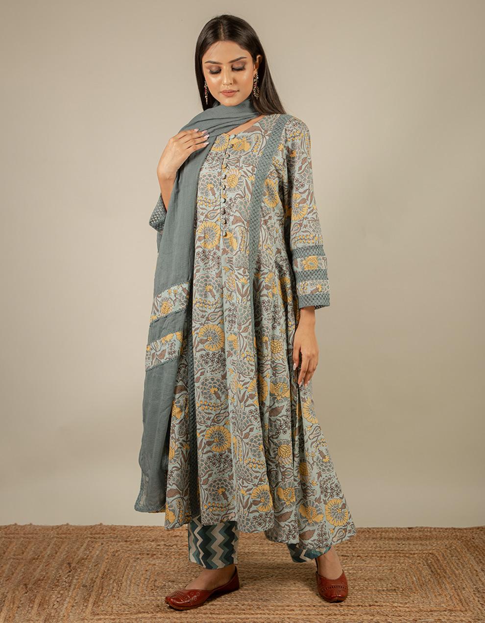 cotton kurta with pants and dupatta