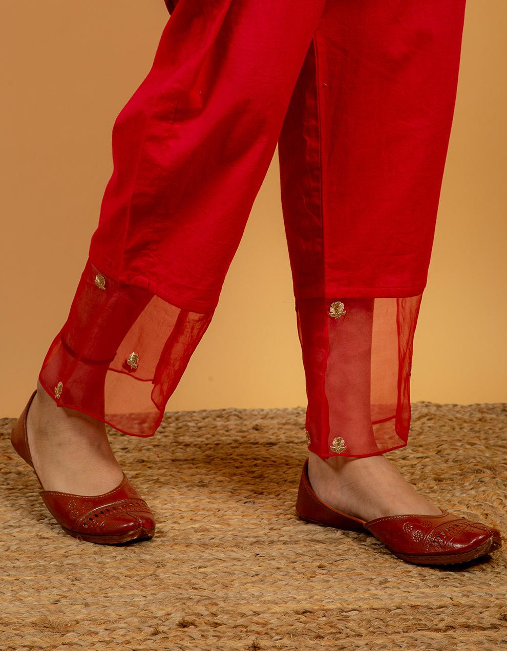 latest rose pink silk pants designs.