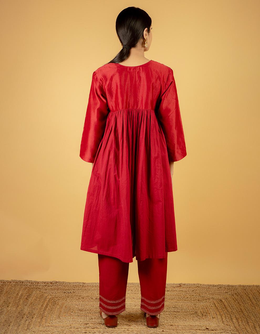 Buy ladies maroon red kurta designs.