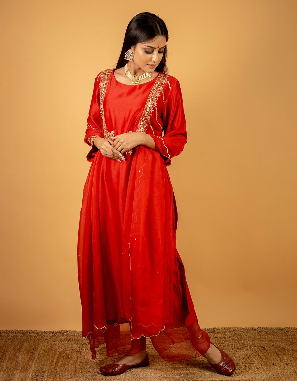 Beautiful Red chanderi silk kurta with silk pants and organza dupatta