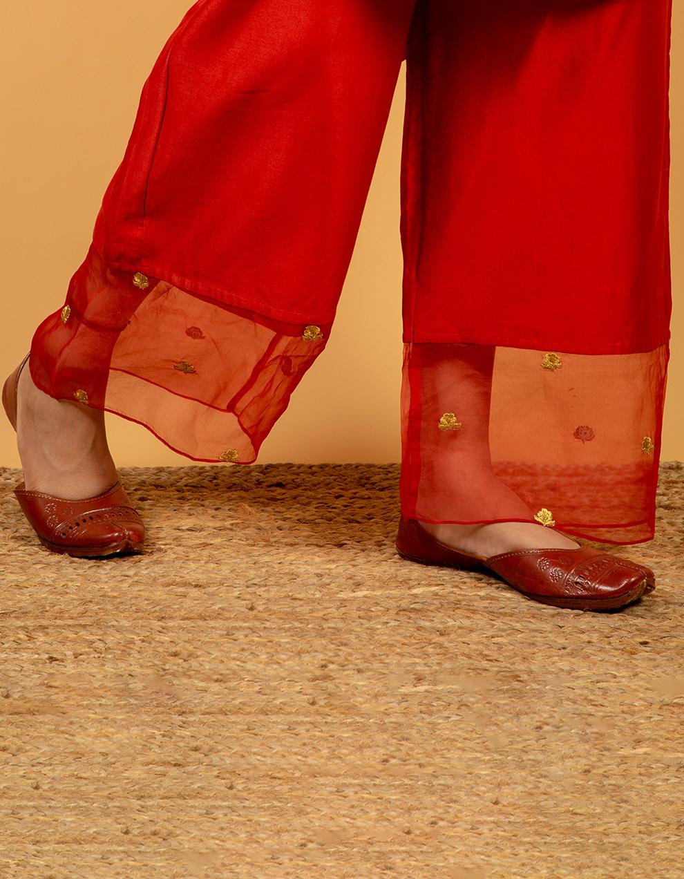 Latest Red chanderi silk kurta with silk pants