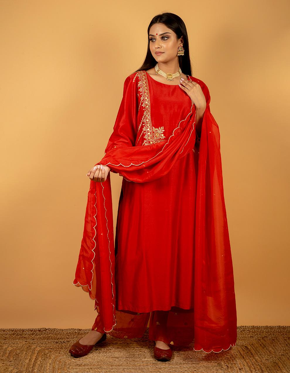Chanderi silk dupatta designs in India.