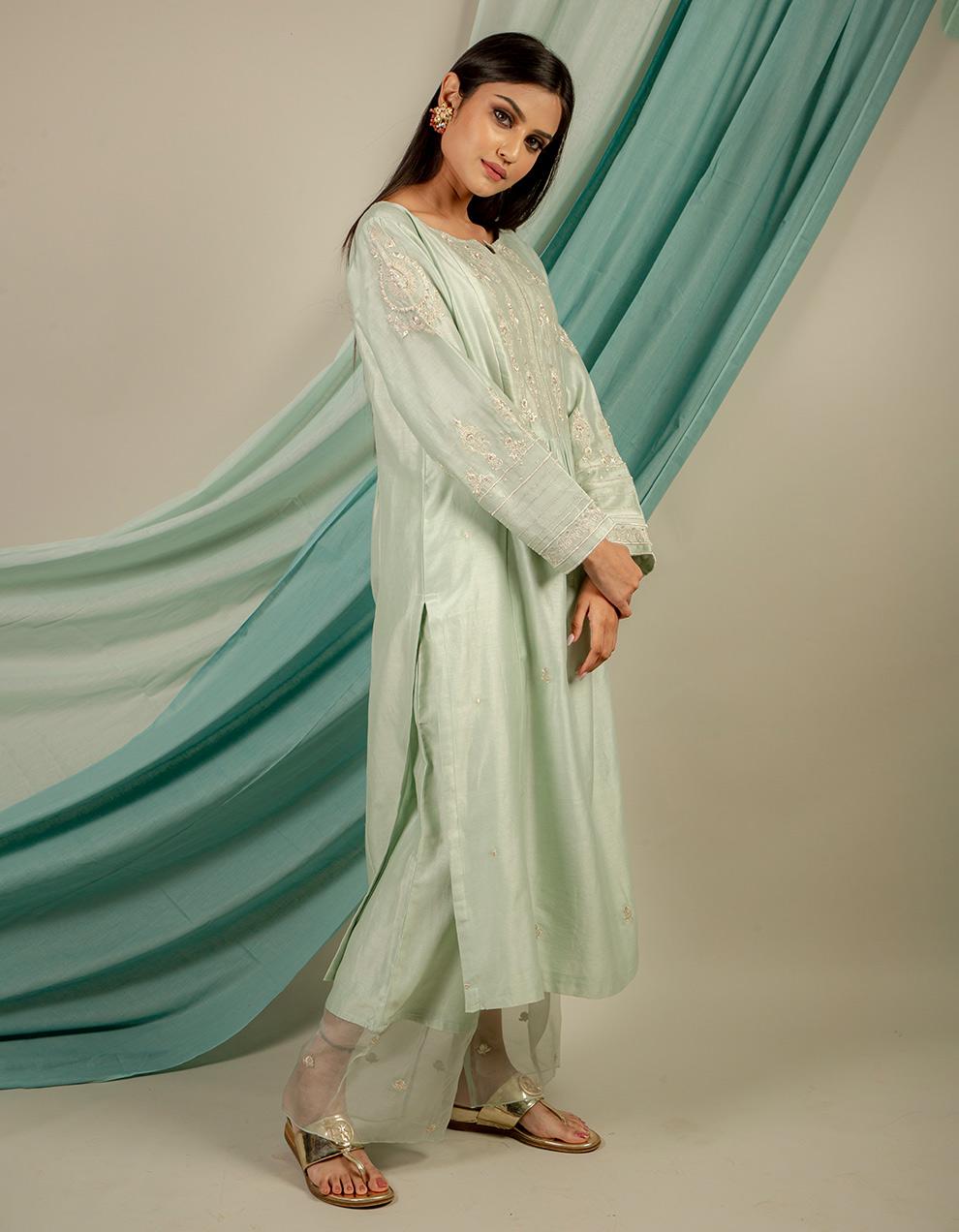 trendy look chanderi silk pants designs
