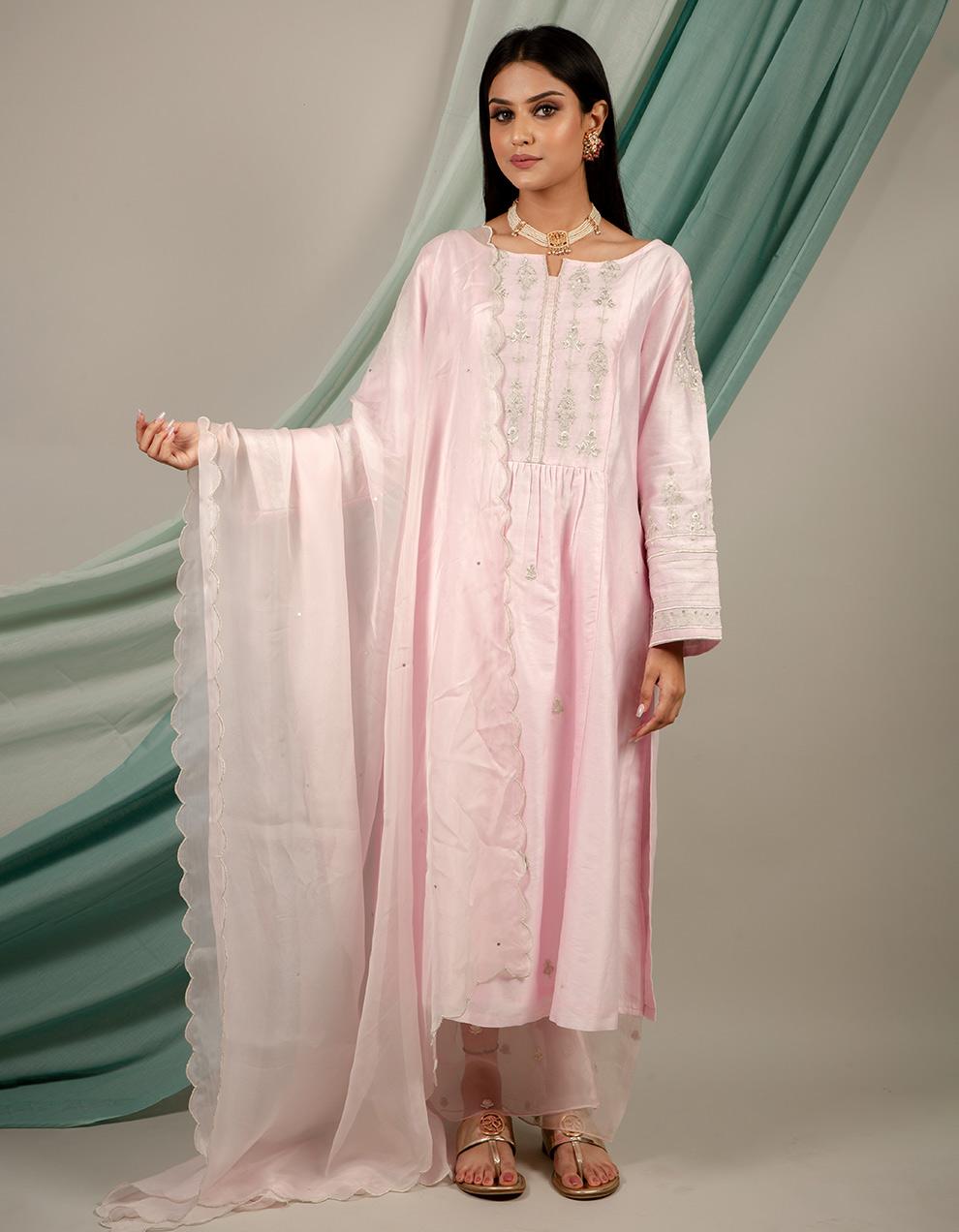 trendy look light pink color silk kurta with pants and dupatta designs