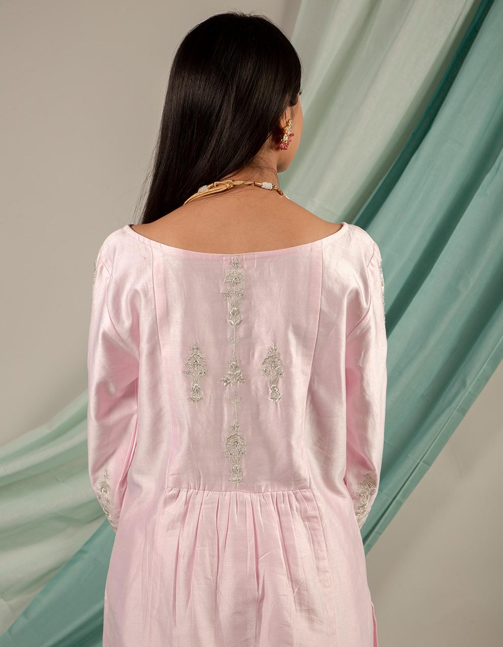 trendy look light pink color chanderi silk kurta designs