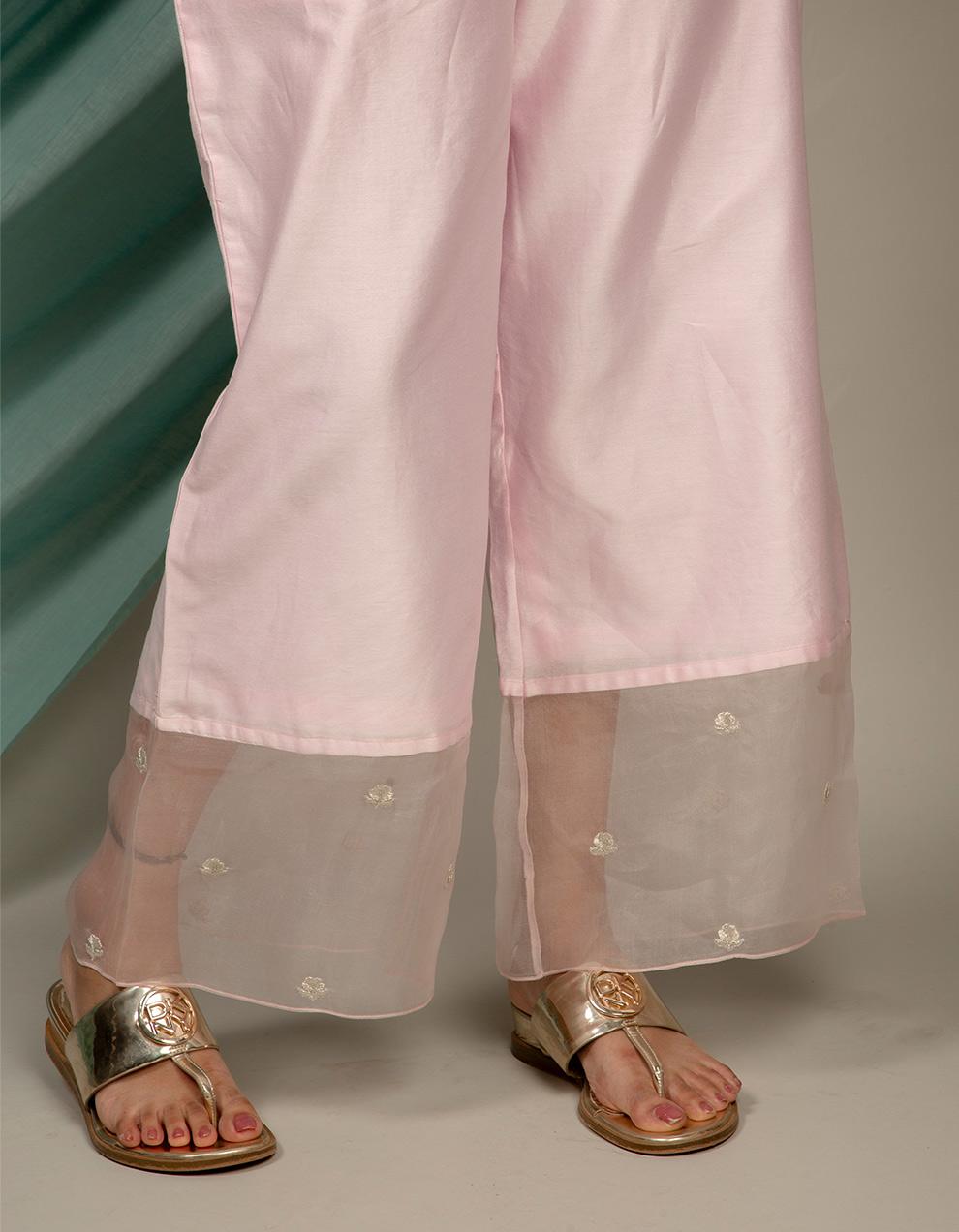 trendy look light pink color chanderi silk pants designs