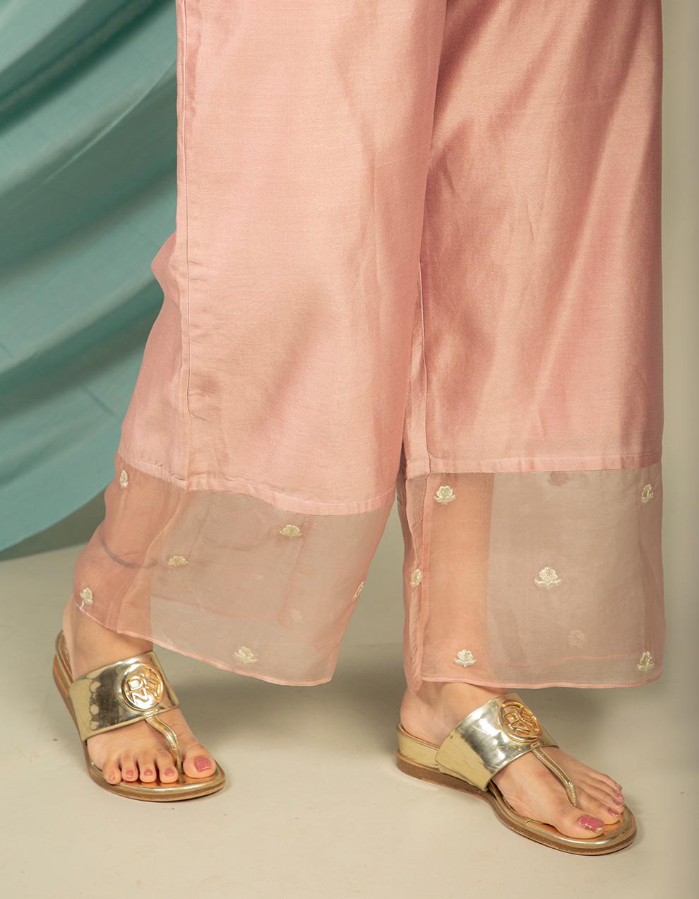 trendy look old rose silk kurta with silk pants designs.