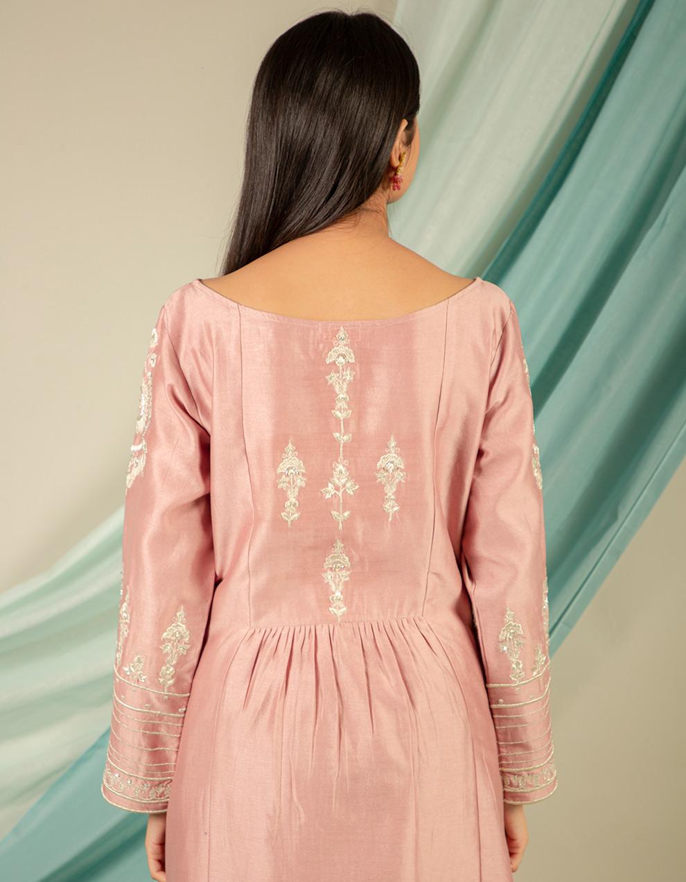 trendy look old rose chanderi silk kurta designs