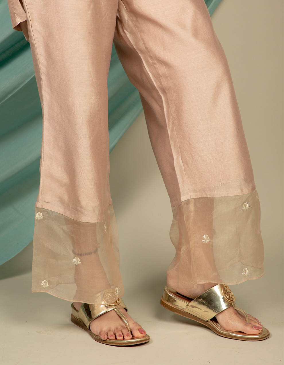 Buy Designer silver brown chanderi silk pants collection Online for Women in India
