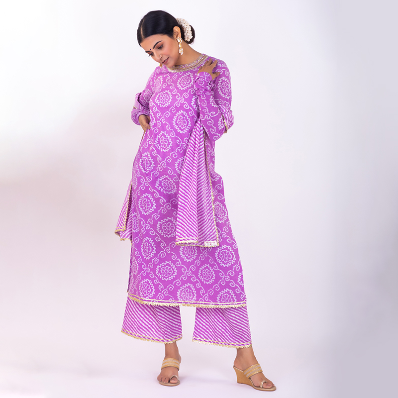 Purple hand embroidered bandhani cotton kurta with pallazzo and dupatta- Set of 3