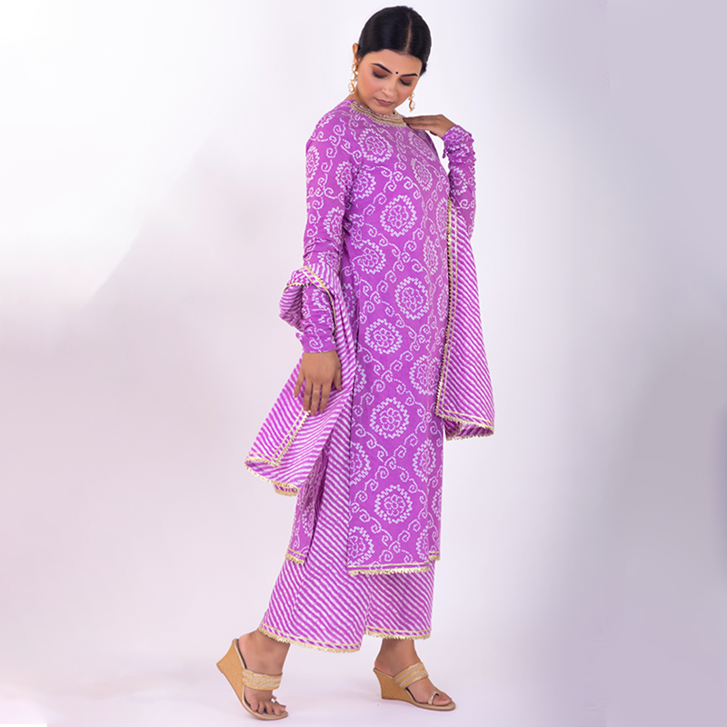 Purple leheriya cotton dupatta