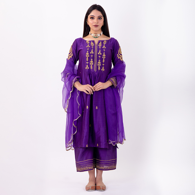 Purple embroidered chanderi silk Pants