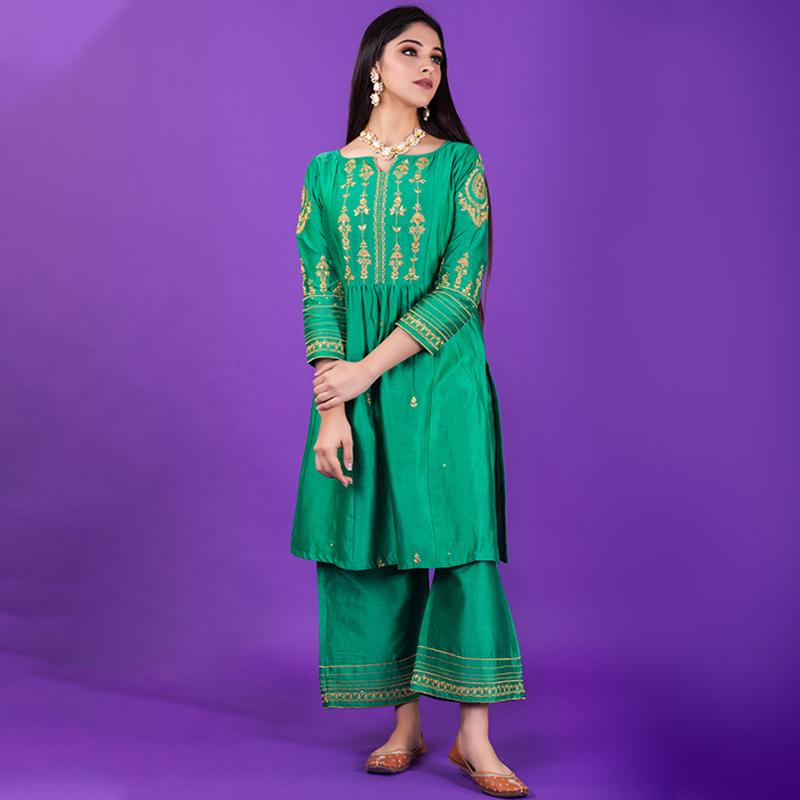 Green hand emboidered chanderi silk kurta