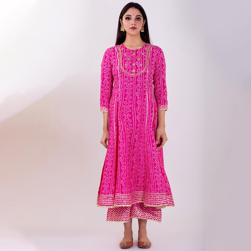 Pink hand embroidered bandhani cotton anarkali kurta