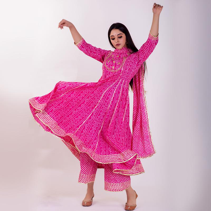 Pink leheriya cotton Pants
