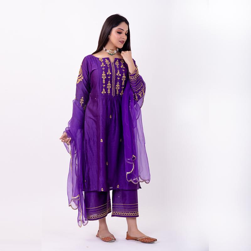 Purple hand emboidered chanderi silk kurta