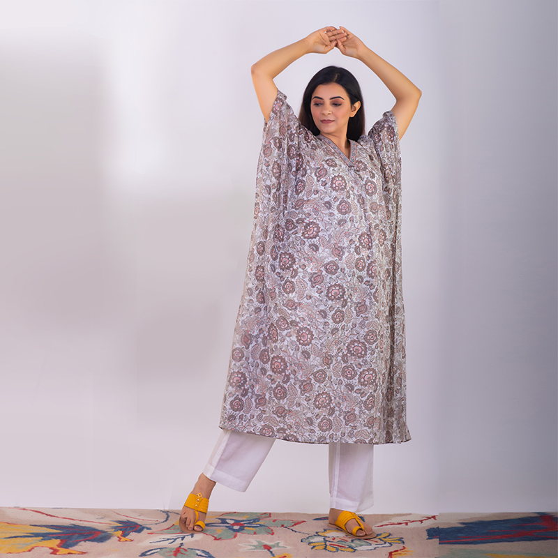 Brown printed mul cotton Kaftan