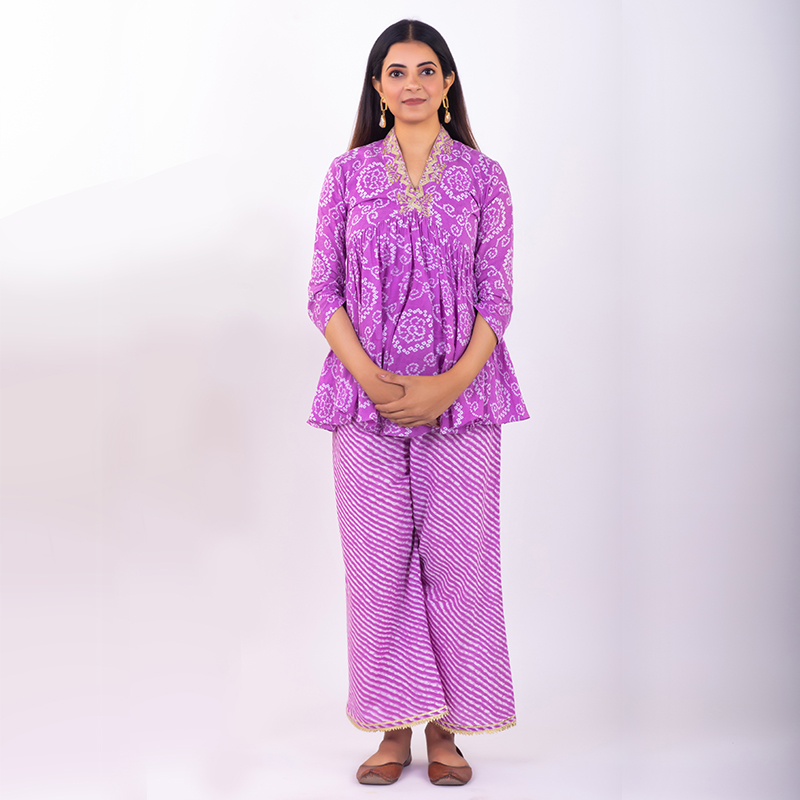 Purple hand embroidered bandhani cotton peplum top with pants - set of 2