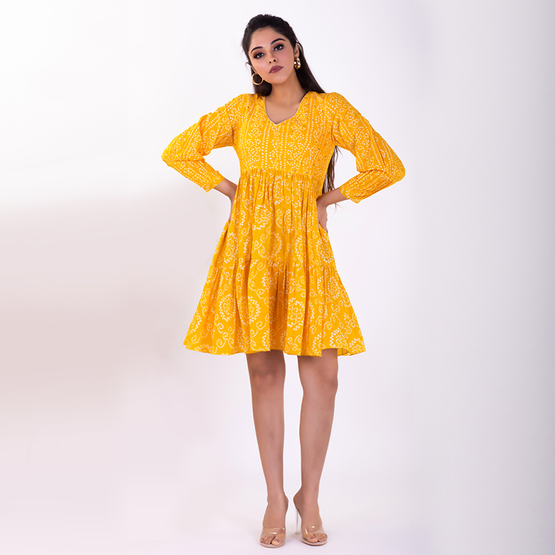 Yellow hand embroidered tiered bandhani cotton kurta