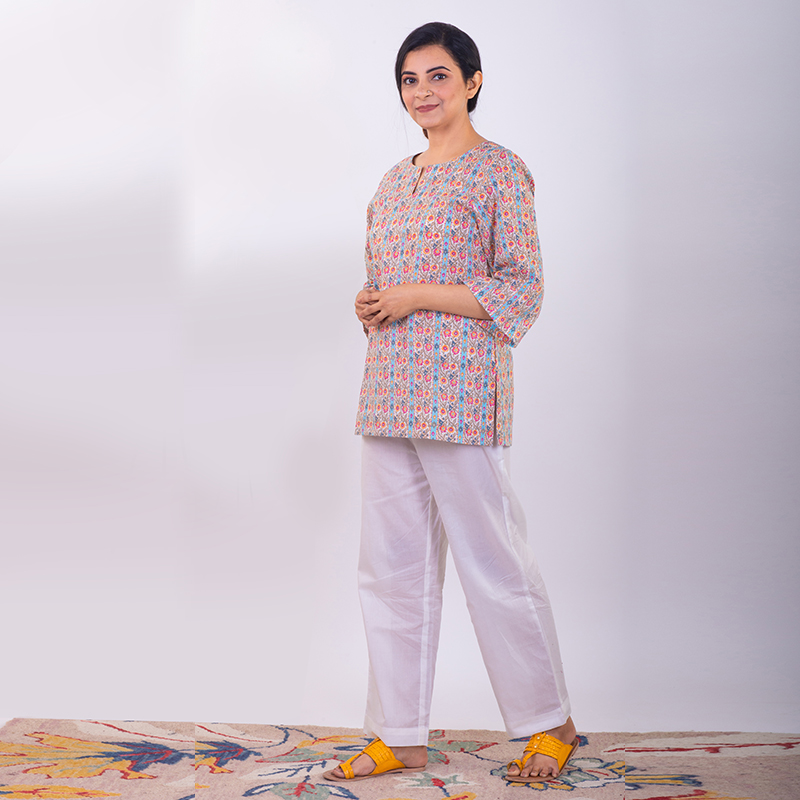 Multicoloured cotton short kurta with pants - Set of 2