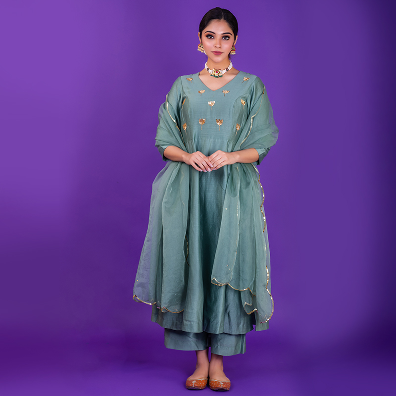 Sea Green hand embroidered chanderi silk kurta with silk palazzo and organza dupatta- Set of 3