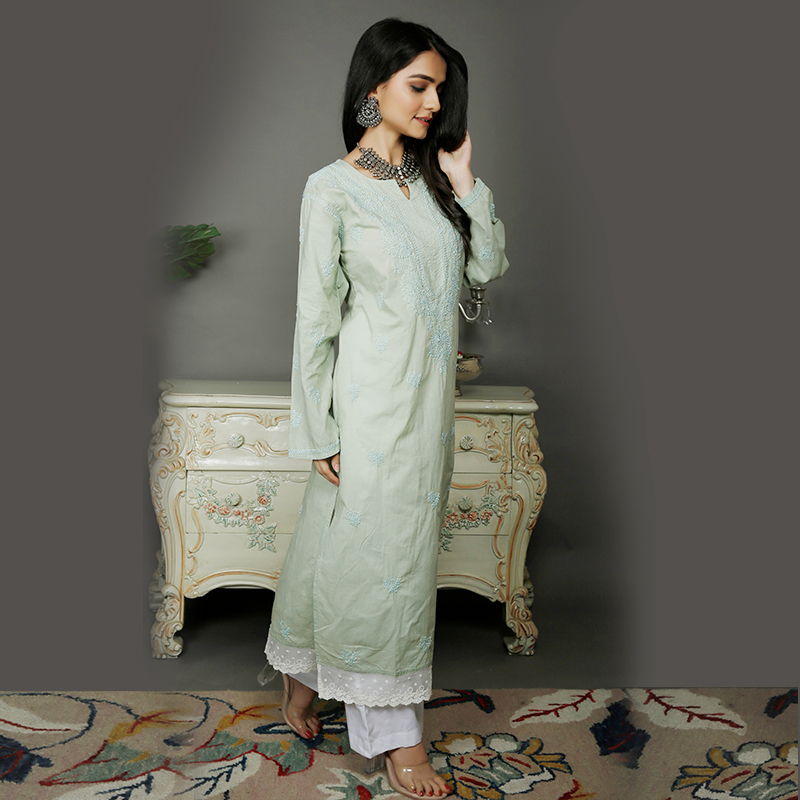 Light Green chikankari cotton kurta with white pallazzo- Set of 2
