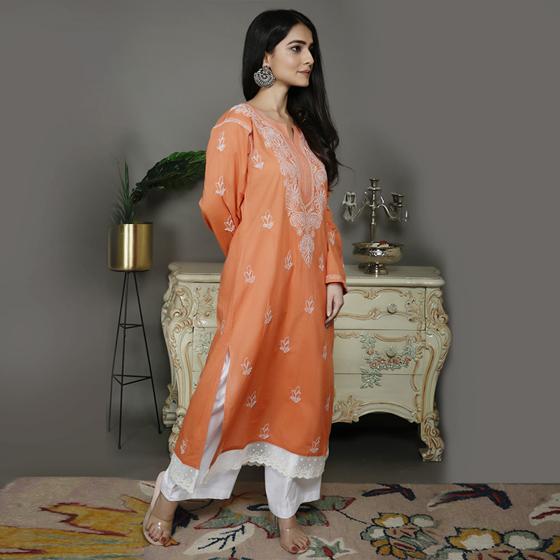 Rust orange chikankari cotton kurta
