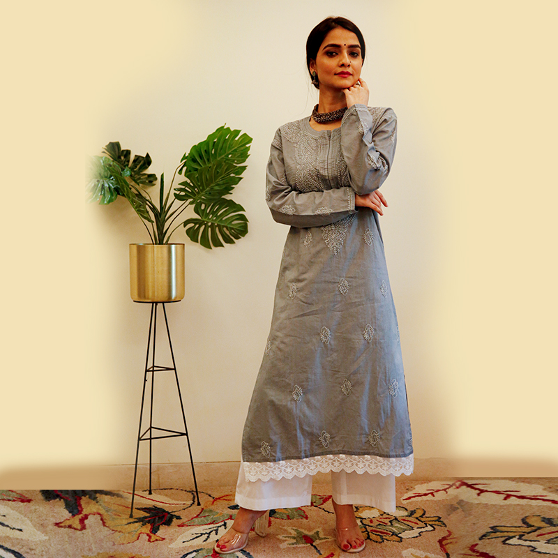 Grey Chikankari Cotton Kurta with White Palazzo